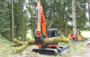 Kubota KX 080 in forestry work