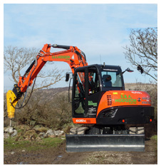 Kubota excavator with breaker